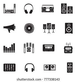 Stereo Icons. Black Flat Design. Vector Illustration.