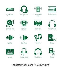 stereo icons. Editable 16 stereo icons. Included icons such as Synthetiser, Headphones, Loud Woofer Box, Console Panel, Gramophone, Speaker, Cassette. stereo trendy icons for web.
