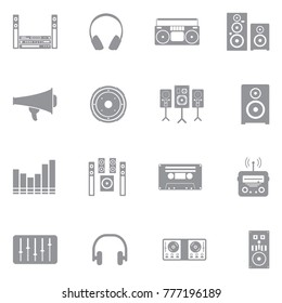 Stereo Icons. Gray Flat Design. Vector Illustration.