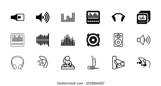 Stereo icons. set of 18 editable filled and outline stereo icons: equalizer, earphones, loud speaker with equalizer, dj, volume