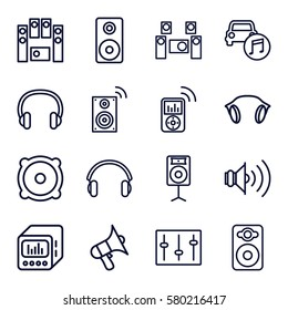 stereo vector icons. Set of 16 stereo outline icons such as volume, speaker, loud speaker set, sliders, car music, earphones, loud speaker with equalizer, loudspeaker, headset