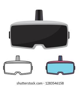 Stereoscopic 3d vr illustration. Vector virtual digital cyberspace technology. Innovation device - Vector illustration