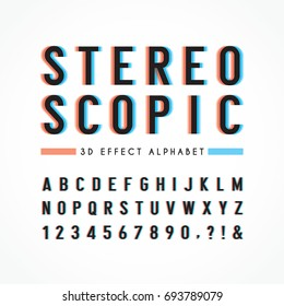 Stereoscopic alphabet & number for title, headline, poster or banner design. 3D effect typography isolated on white.