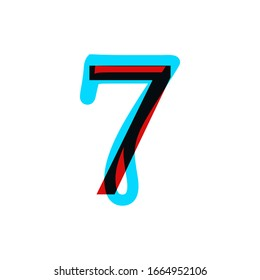 Stereoscopic stereo 3d vector number 7. Colorful glitch alphabet. Typography effect stereoscopic illustration