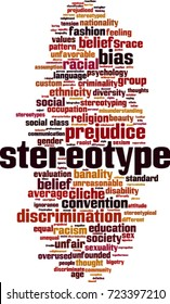 Stereotype word cloud concept. Vector illustration