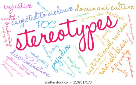 Stereotypes word cloud on a white background.