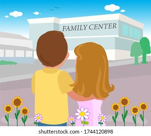 Sterile couple going to family centre for IVF. Vector illustration