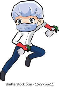 Sterile man, fight to cleaning everything