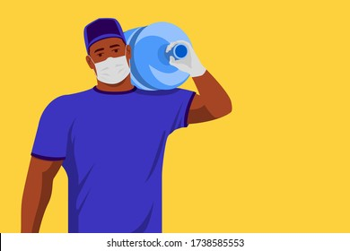 Sterile water Delivery. African American young courier carrying water bottle on shoulder. Wearing medical protective face mask and gloves against covid-19. copy space.
