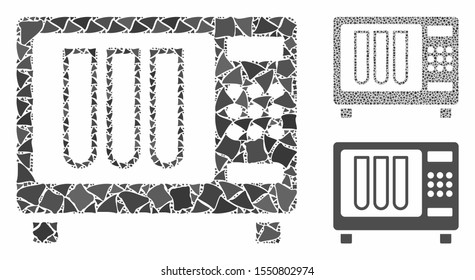 Sterilizer mosaic of rugged items in various sizes and color tones, based on sterilizer icon. Vector rugged parts are grouped into collage. Sterilizer icons collage with dotted pattern.