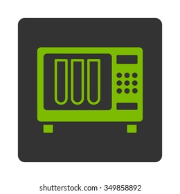 Sterilizer vector icon. Style is flat rounded square button, eco green and gray colors, white background.