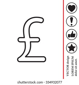sterling sign, vector design for website, line icon