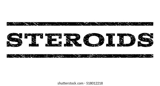 Steroids watermark stamp. Text tag between horizontal parallel lines with grunge design style. Rubber seal stamp with dirty texture. Vector black color ink imprint on a white background.