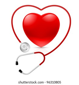 Stethoscope and Abstract Heart. Illustration on white background
