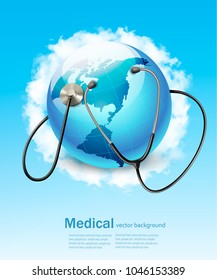 Stethoscope against a globe. Vector
