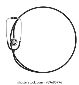 Stethoscope black color and circle shape frame made from cable isolated on white background, with copy space