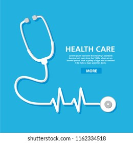 Stethoscope cardiology. Health care pulse.Heart cardiogram.Concept medical poster flat vector.