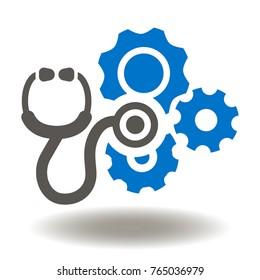 Stethoscope Cogwheel Mechanism Icon Vector. Medical Cure Illustration. Treatment Process Logo. Healthcare Work Symbol.