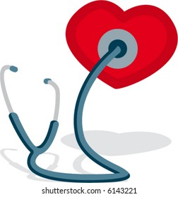 Stethoscope drawing with small heart