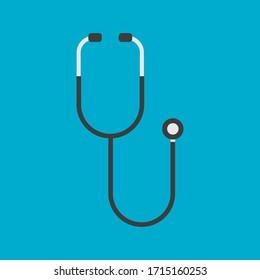 Stethoscope flat icon isolated on white background. Vector illustration. Eps 10.