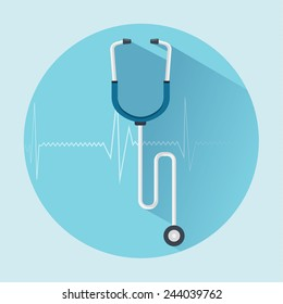 Stethoscope flat  icon  with long shadow.  Healthcare and medical concept. Vector illustration