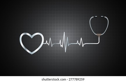 A stethoscope with a heart beat. Illustration. Monitor, pulse. wave. black Technology background for computer graphic website and internet. web icon. monitor. graph.