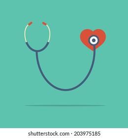 Stethoscope Heart Checking Vector Illustration