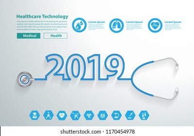 Stethoscope heart creative design ideas concept, Happy new year 2019 calendar cover, typographic vector illustration.