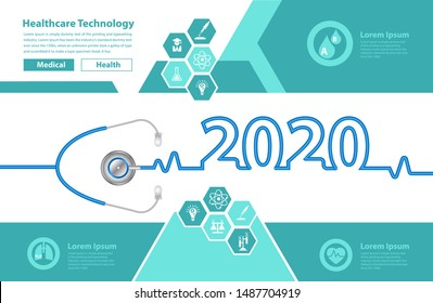 Stethoscope heart creative ideas concept new year 2020 calendar cover, Vector illustration medical brochure design template