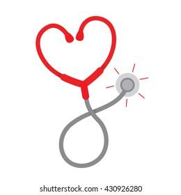 Stethoscope heart shape,  isolated on white background.  vector illustration