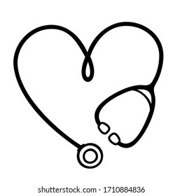 Stethoscope heart shape monogram for nurse. Medical clipart icon for nurses or doctors. Vector illustration