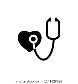 stethoscope and heart vector icon