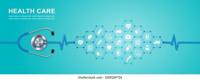 stethoscope and heartbeat flat icons in medicine, medical, health, cross, healthcare decoration for flyers, poster, web, banner, and card vector illustration