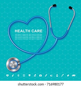 stethoscope and heartbeat heart shaped flat icons in medicine, medical, health, cross, healthcare for background concepts vector illustration
