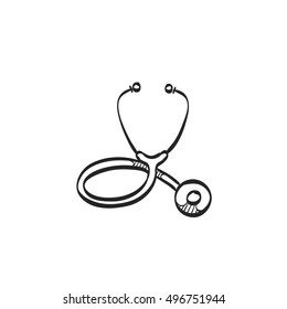 Stethoscope icon in doodle sketch lines. Medical equipment, doctor, practitioner
