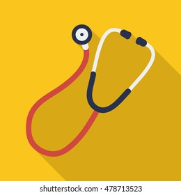 stethoscope icon in flat style with long shadow, isolated vector illustration on yellow transparent background