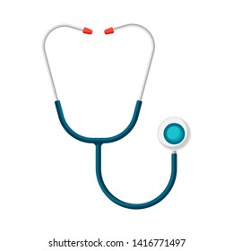 Stethoscope icon in flat style. Medical illustration isolated on white background.