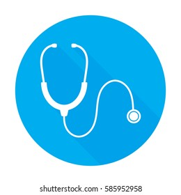 Stethoscope icon with long shadow. Vector illustration