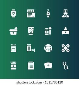 stethoscope icon set. Collection of 16 filled stethoscope icons included Phonendoscope, Nurse, Diagnosis, Medicine, Bandage, Medical room, Pharmacist, Doctor, Pulsometer