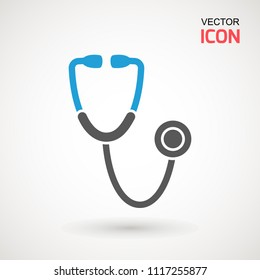 Stethoscope icon in trendy flat style isolated on background. Stethoscope Icon - Medical Health Care Symbol Glyph Vector illustration . Page symbol for your web site design logo, app, UI.