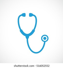 Stethoscope icon vector illustration on white background. Stethoscope sign. Medical stethoscope icon. Blue stethoscope pictogram icon.