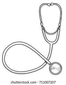 Stethoscope illustration, drawing, engraving, ink, line art, vector