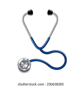 Stethoscope isolated on white photo-realistic vector illustration