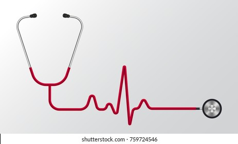stethoscope isolated pulse concept vector background
