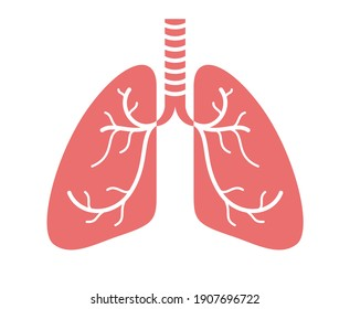 Stethoscope with lungs vector simple icon isolated over white background, pulmanology theme illustration or logo.