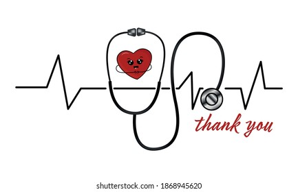 Stethoscope, medical cartoon equipment with heart. Thank you doctors and nurses concept. Health and medicine symbol.