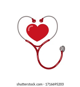 Stethoscope medical instrument, red heart shape  vector icon. Health care love support logo. Pandemic Life Saving logo.