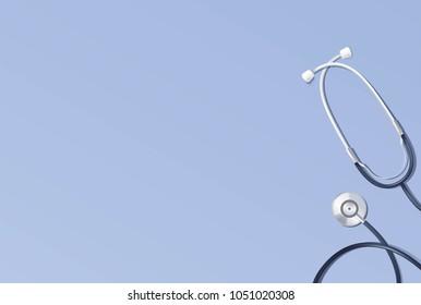 Stethoscope on blue background. Medical concept. Vector illustration