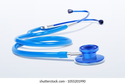 Stethoscope Realistic Medical Tool On White Background