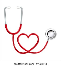 Stethoscope In Shape Of Heart, Isolated On White Background, Vector Illustration